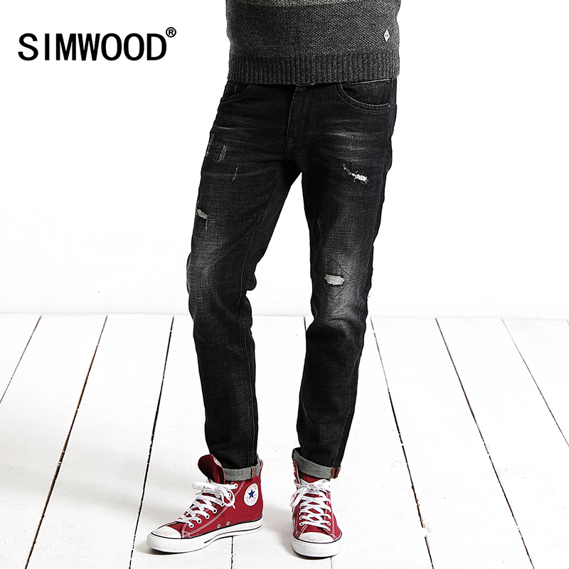 SIMWOOD 2017 New Winter Jeans Men  Fashion Hole Denim Pants Casual Trousers Slim Fit  Brand Clothing High Quality SJ6076 2017 new hiphop men hole jogger pants high quality casual destroyed skinny ruched jeans hole casual pants jogger rock jeans
