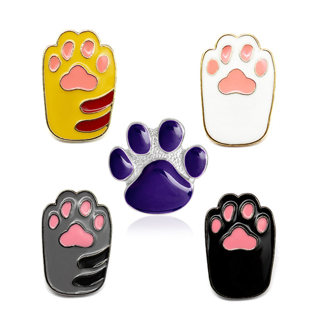 Enamel Brooch Dog Paw Print Metal Badges Lapel Pins Broach Broches Cat  Jewelry Badge On Backpack