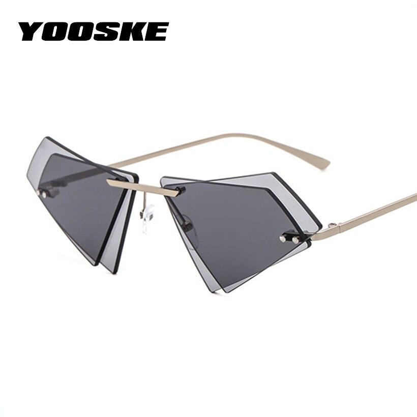 e8d9bb6ca7e6d YOOSKE sin montura de ojo de gato gafas de sol de las mujeres pequeño  triángulo gafas de sol mujer marca famosa Irregular doble lente gafas en  Gafas de sol ...