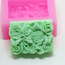 Handmade Soap Soft Silica Gel Mould Resin craft soap making molds rectangle flower cake 3d Rose mold Creative Wedding Gift