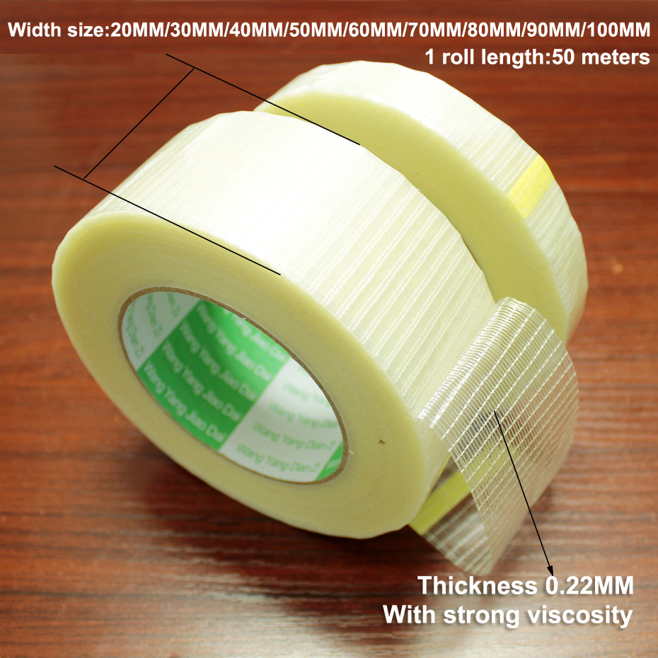 50m Glass Fiber Tape Transparent Battery Pack Mesh Fiber Tape Aircraft Model Fixed Strong Single-sided Strip Tape Translucent