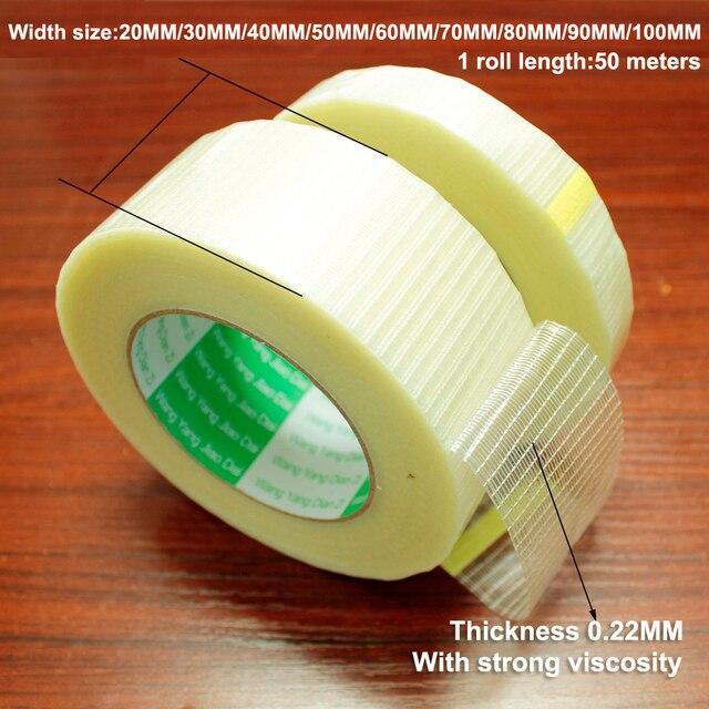50m 유리 섬유 테이프 투명 배터리 팩 메쉬 섬유 테이프 항공기 모델 고정 강력한 단면 스트립 테이프 반투명