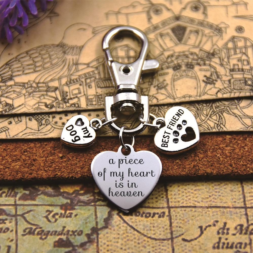 High quality keychain with 20mm stainless steel heart charms paw print, pet loss, rainbow bridge with best friend love my dog image