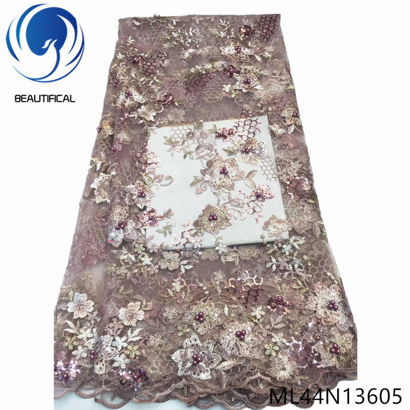 BEAUTIFICAL embroidery tulle nigerian lace folower 2019 lace material fabric for sewing 5 yards/lot ML44N136BEAUTIFICAL embroidery tulle nigerian lace folower 2019 lace material fabric for sewing 5 yards/lot ML44N136