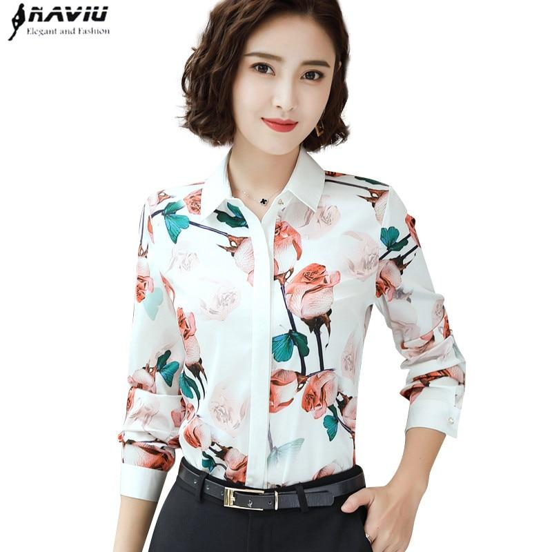 Fashion Rose printed shirt women spring New temperament long sleeve chiffon blouse office ladies personality plus size topsBlouses & Shirts   -