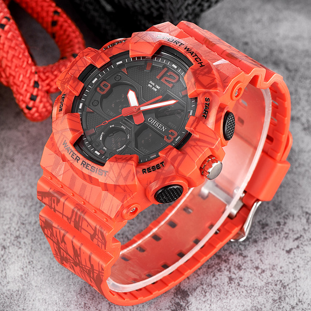 bbb2056f116 NEW OHSEN Fashion Quartz Digital Watch Men LED Analog Man Army Wristwatches  Camouflage Red Rubber Band Swim Sport Watch Relogios