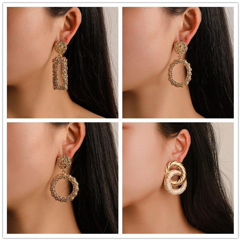 E330 Trendy Metal Letter Drop Earrings For Women Geometric Statement Earrings Female 2019 Fashion Modern Jewelry Hanging Earring