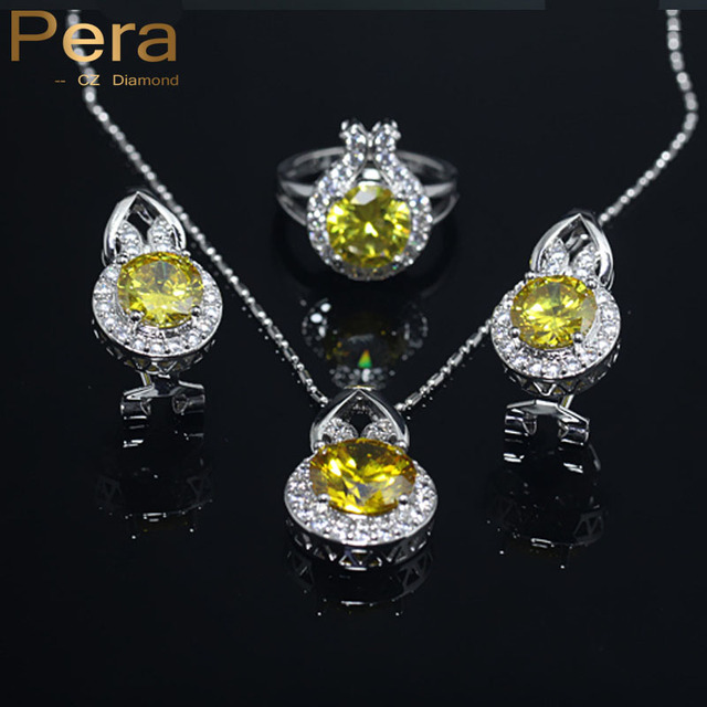 Pera New Design Bridemaid Wedding Accessories 3 Pcs Yellow Austrian Crystal 925 Sterling Silver Jewelry Sets For Women J002
