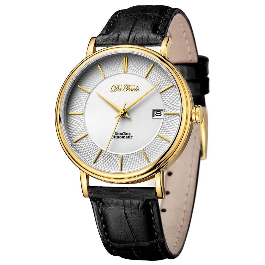 DE รู้สึก Movt Miyota 9015 ผู้ชายอัตโนมัตินาฬิกายี่ห้อ Luxury Sapphire แก้วและสายหนัง Relogio Masculino-ใน นาฬิกาข้อมือกลไก จาก นาฬิกาข้อมือ บน   2