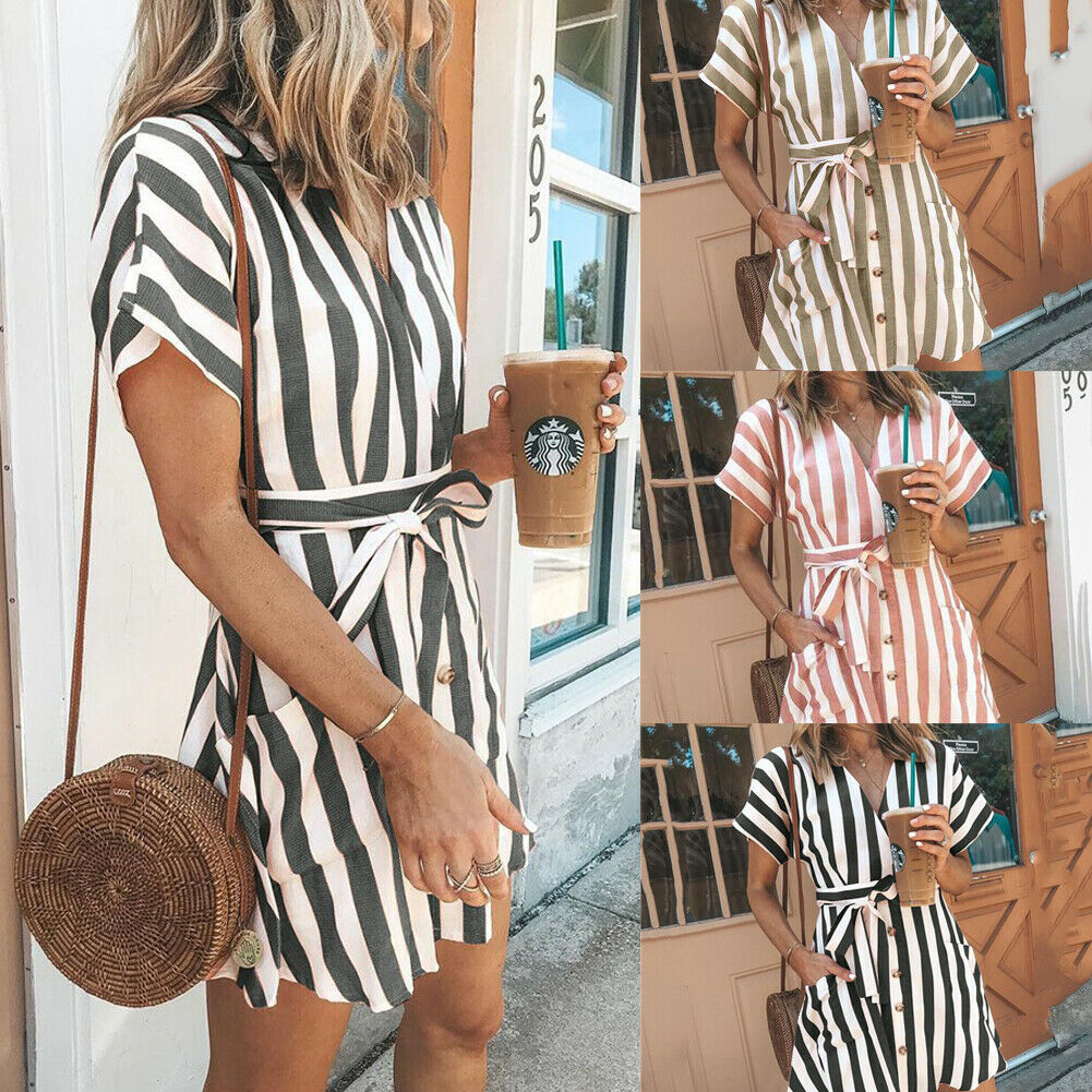 Hot Elegant Women's arrival Stripe Mini Dress Sexy Ladies Short Sleeve Casual Dress Summer Beach Dresses Size S-XXL 4Color