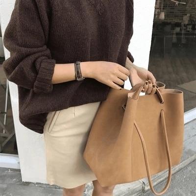 Bolsos Vintage de cuero nobuk para mujer bolsos de moda vintage bolso de mensajero para mujer casual grande bolsa de Asa superior bolsos
