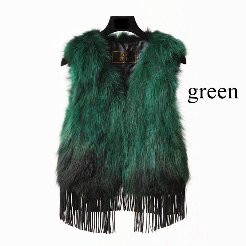 Gilet turquoise Cuir Top Nouveau red Renard Glands Fourrure Cou Cheveux black blue Chaud green navy Pink purple Véritable V Veau Blue Mode De olive En Mince Wp6cpq4