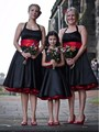 2017 Black Satin Red Belt Bridesmaid Dresses Halter Knee Length Sleeveless Custom Made Wedding Party Dress Special Occasion Gown
