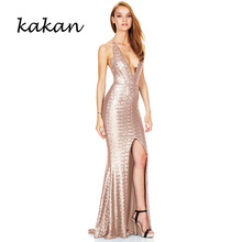 Kakan summer new sequin dress deep V-neck sling split fork back nightclub sexy