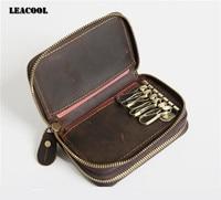 LEACOOL 2017 Crazy Horse Leather Key Wallet Keychain Covers Double Deck Key Case Bag Men Key