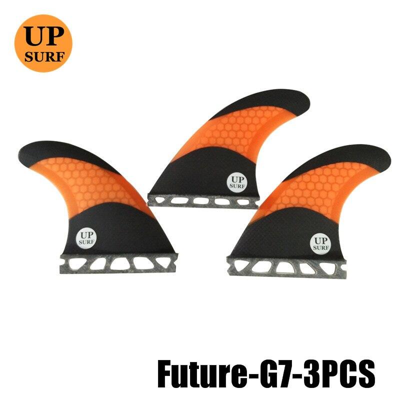 Prancha quilhas de planches de surf en fibre de verre ailerons futurs G7 surf ailerons en fibre de carbone en nid d'abeille Orange
