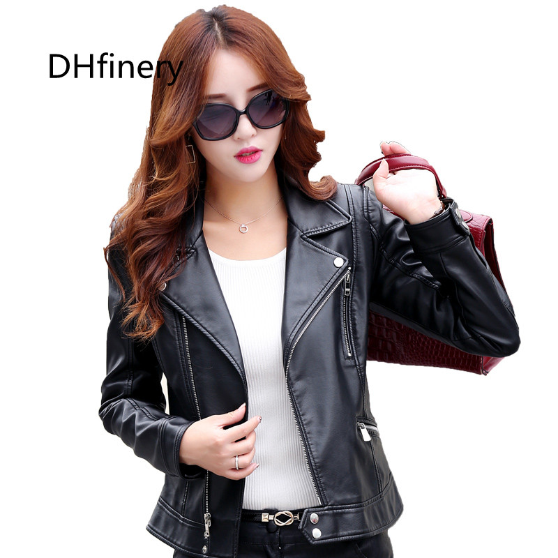 Women's   Leather   Jacket Spring and Autumn Short Striped Motorcycle   Leather   Jacket Woman Red and gray coat plus size M-5XL k6602