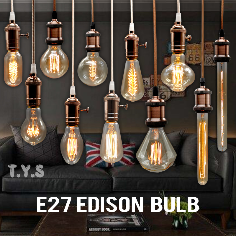 Edison Bulb Incandescent Lamp E27 220v Wedding Vintage Lamp Pendant Light Retro Lighting Ceiling lampadas Carbon Filament Bulb transgems platinum plated silver 2 15ctw 5x7mm h color cushion cut moissanite simulated diamond earrings for women