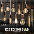 Edison bombilla lámpara incandescente E27 220 v boda Vintage lámpara colgante Retro Luz de techo iluminación lampadas de filamento de carbono bombilla