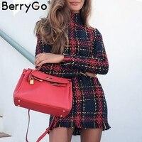 BerryGo Elegant Office lady plaid winter dress 2018 Long sleeve stand collar thick warm tassel dress Fashion slim female vestido