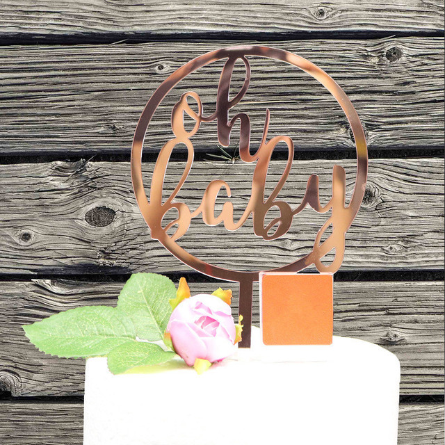 Oh Baby Birthday Cake Topper Mirror Rose Gold Acrylic Toppers Shower Decorations Party Supplies