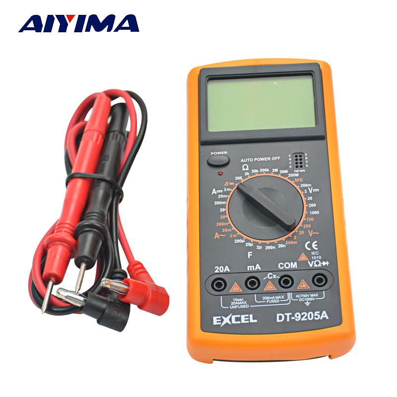AIYIMA DT9205A Digital Multimeter/Volt/Amp/Diode/Ohm/Frequency/Capacitance Tester/Transistor excel dt9205a 3 lcd digital multimeter black orange 1 x 6f22