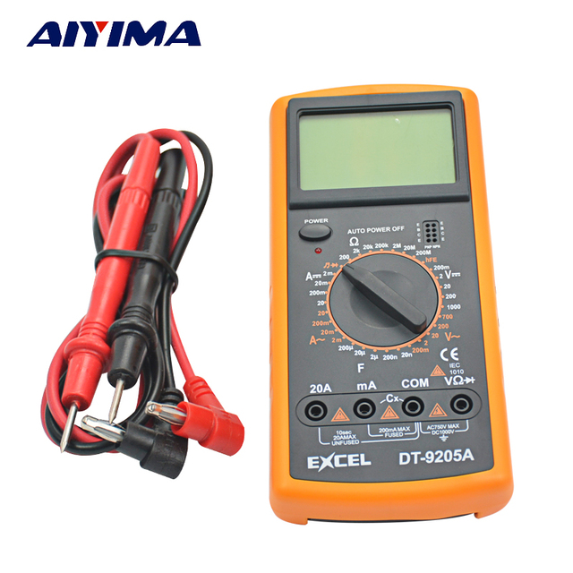 US $14 89 |AIYIMA DT9205A Digital  Multimeter/Volt/Amp/Diode/Ohm/Frequency/Capacitance Tester/Transistor-in  Tool Parts from Tools on Aliexpress com |