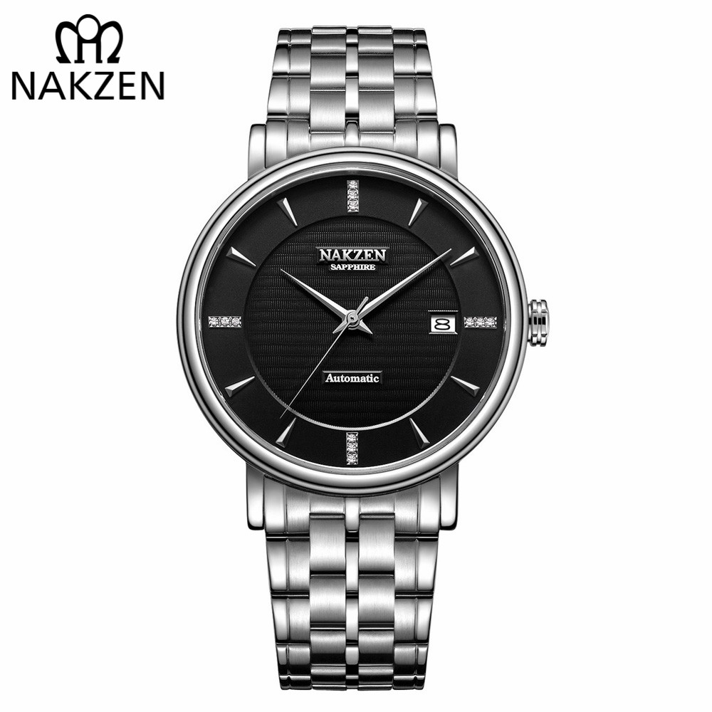 NAKZEN Homens de Negócios do relógio de Pulso De Diamantes Marca De Luxo Mecânico Automático Relógios Masculino Relógio Relogio masculino Miyota 9015