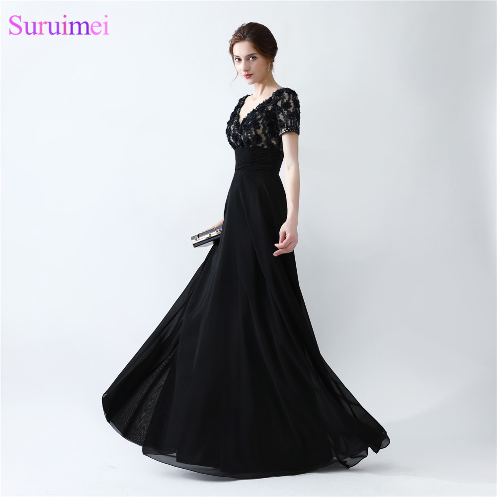 Black Prom Dresses High Quality Handmade Flower With Beading Short ...