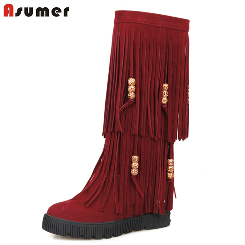 ASUMER 2017 winter ladies unique winter boots with tassel platform round toe comfort flat with slip on women mid calf boots double buckle cross straps mid calf boots