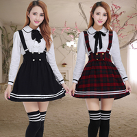Long sleeve Japanese School Uniform for girls Students Sweet clothes Plus size Two piece Navy Straps skirt +White Shirt