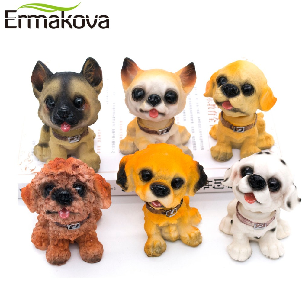 "ERMAKOVA 3.9 ""(10 սմ) Խեժ Bobblehead Dog Statue Puppy Nodding Doll տող ցնցող շուն Bobble Nodder Bubble Head Desktop Car Դեկոր"