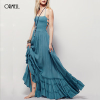 ORMELL New Fashion Ladies Elegant Maxi Dress Vintage Long Beach Dress Suspender Sleeveless Backless Slim Brand