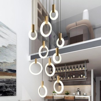 Modern Circle Acrylic Led Pendant Lamp Villa Stair Hotel Dining Room Hanging Lighting Fixture Lustre Wood Pendant Drop Light Led led modern pendant lights suspendus lustre dining room hotel restaurant lighting lustres de sala led hanging lamps kitchen lamp