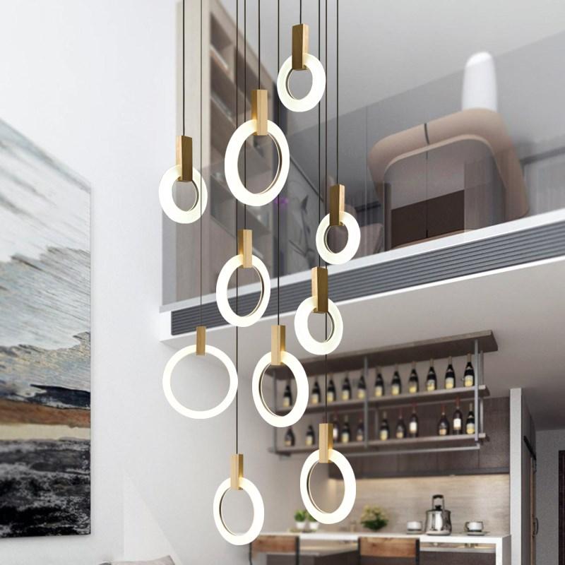 Moderne Kreis Acryl Led Anhänger Lampe Villa Treppen Hotel Esszimmer Hängen Beleuchtung Fixture Lustre Holz Anhänger Drop Licht Led