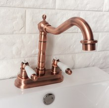 Antique Red Copper Single Handle Bathroom Wash Basin Mixer Taps / 2 Hole Deck Mounted Swivel Spout Vessel Sink Faucets zrg043