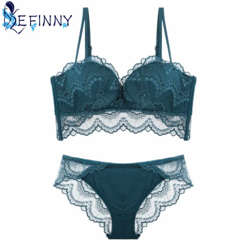 a386c94529 2018 New Sexy Lace Perspective Brief Set Women Charming Wire Free  Adjustable Deep V Backless Seamless