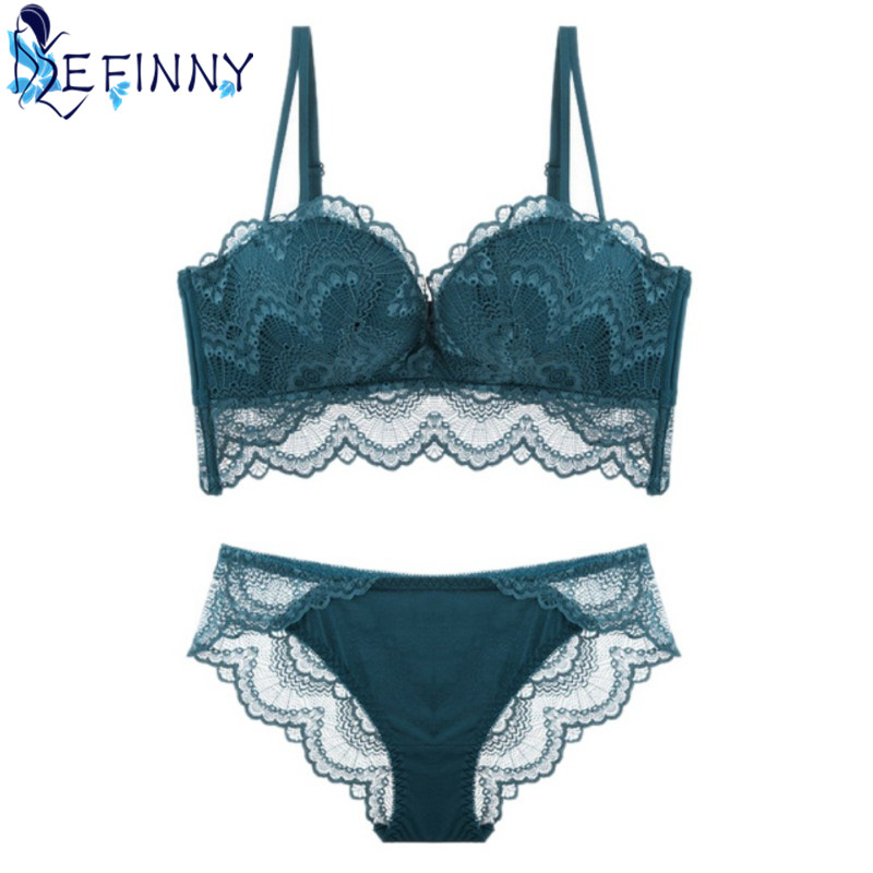 2018 New Sexy Lace Perspective   Brief     Set   Women Charming Wire Free Adjustable Deep V Backless Seamless   Bras   Lingerie   Set