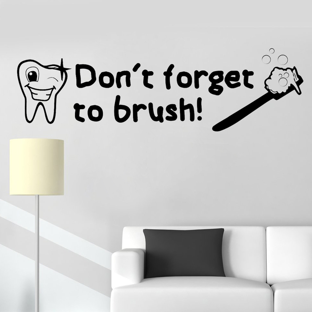 Donu0027t Forget To Brush Quotes Wall Decal Dental Stickers Art Bathroom Vinyl  Decor Mural