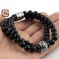 leather bracelet wholesale vintage jewelry Black Onyx Men's stainless steel bracelet cheap mens jewelry