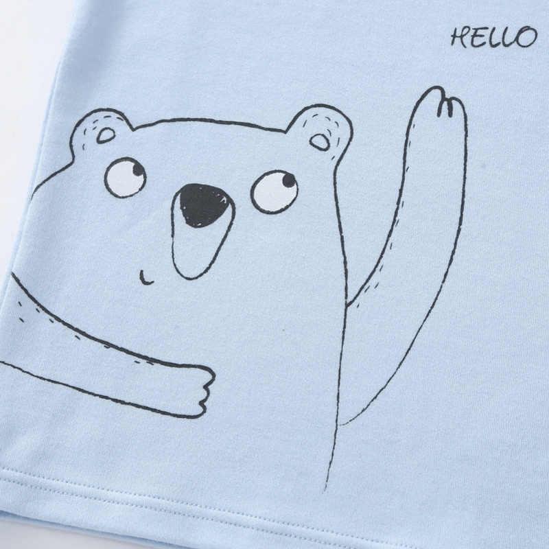 Balabala Balita Anak 2-Piece Grafis Snug Fit Katun Piyama Lengan Panjang Solid + Pull-ON Celana set untuk Anak-anak Anak-anak Piyama Set