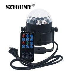 SZYOUMY pilot zdalnego sterowania LED na podczerwień IR kryształ magia obracające się piłka światła sceniczne USB 5V kolorowe ktv oświetlenie dj światło dyskotekowe sterowanie muzyką światła