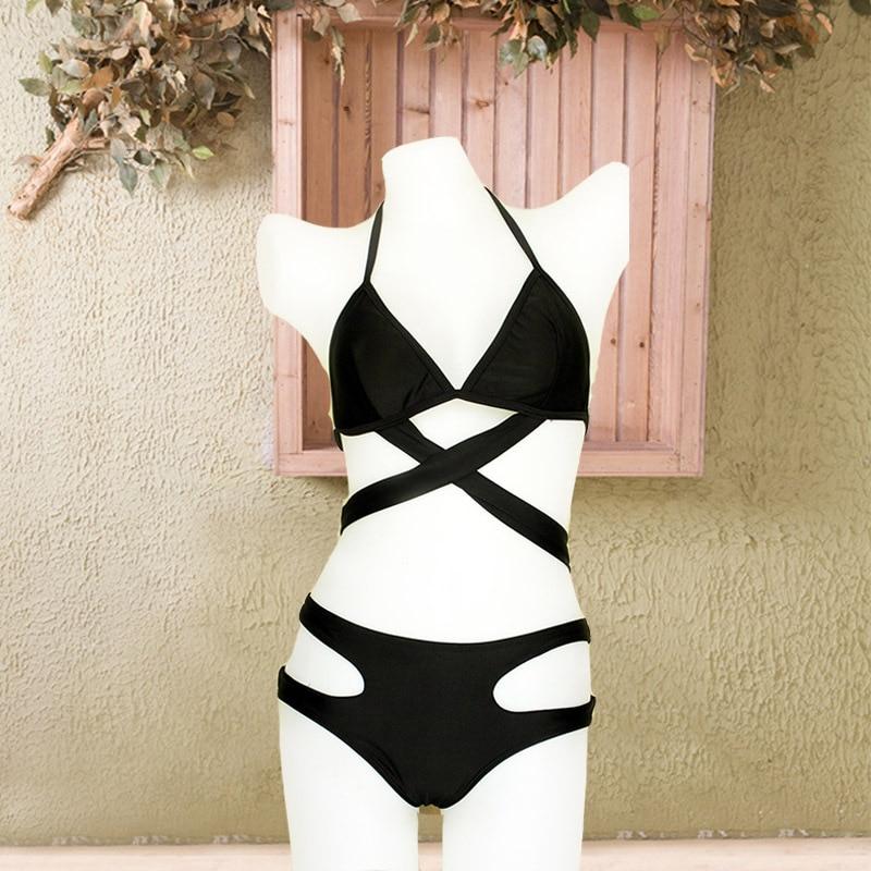 HTB1Q4hQlJnJ8KJjSszdq6yxuFXas - FREE SHIPPING Push Up Sexy Black Design Halter Bikini Solid Color Swimsuit High Waist JKP332