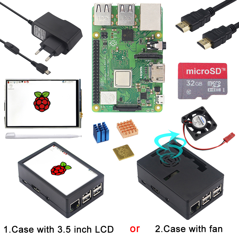 Raspberry Pi 3 Model B Plus + ABS Case Enclosure + Fan /3.5 Inch Touchscreen LCD + Power Supply Adapter For Raspberry Pi 3B Plus