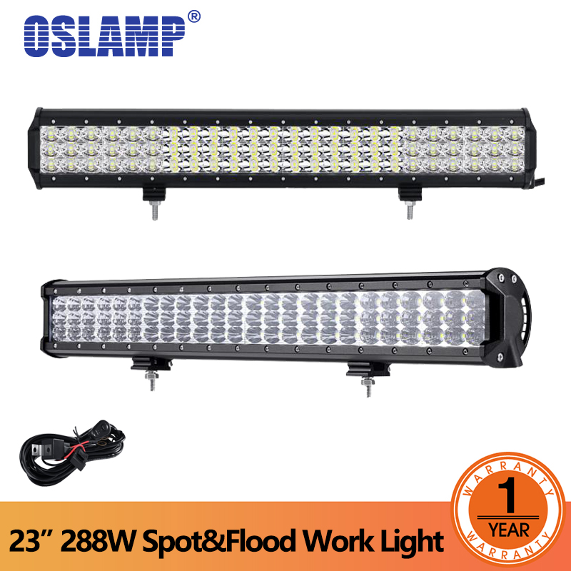 цена Oslamp 23inch 6D 3-Row LED Light Bar Offroad Combo Beam 288W Led Work Light Bar for Trucks SUV ATV 4WD 4x4 Led Bar Light онлайн в 2017 году