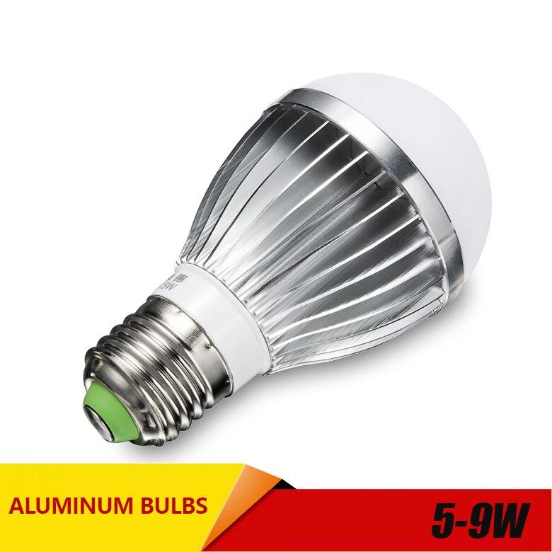 Купить с кэшбэком aluminum LED E14 E27 lamp IC 5W 7W 9W  220V 230V 240V LED 2835 Lights Led Bulb bulb light lighting high brighness Silver metal