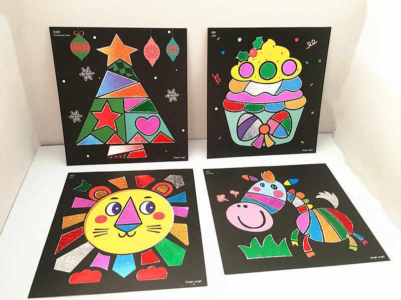 Happyxuan 12 шт. Дети DIY волшебное рождественское Искусство и ремесла Набор наклеек материал ручной работы Детский сад обучающая живопись игрушки для девочек