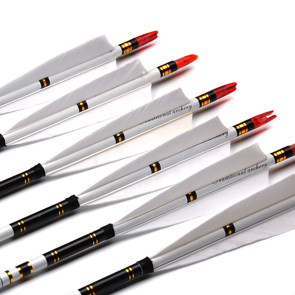 6/12/24pcs 32 Inches Spine 500 OD 7.6 Mm ID 6.2 Mm Carbon Arrow With White Color Real Feather For Recurve Bow Hunting Shooting