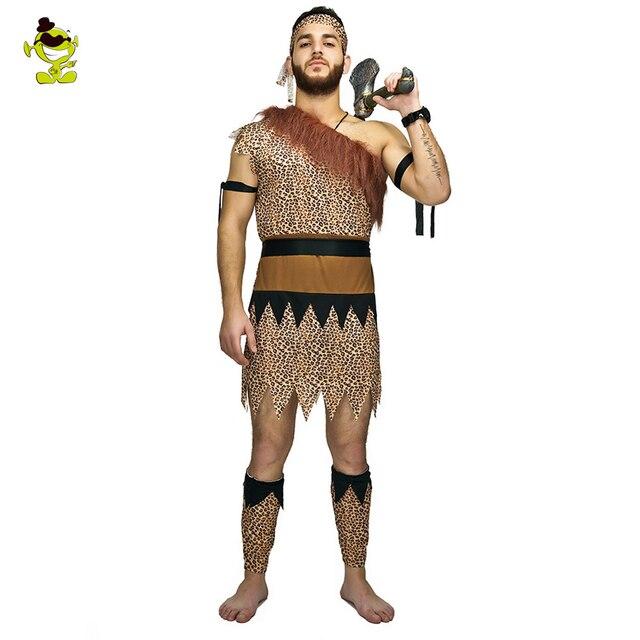 Adultos hombres mujeres jungla Caveman Wildman Cosplay carnaval disfraces Stone Age Stag Halloween disfraz mujer fiesta como los Croods