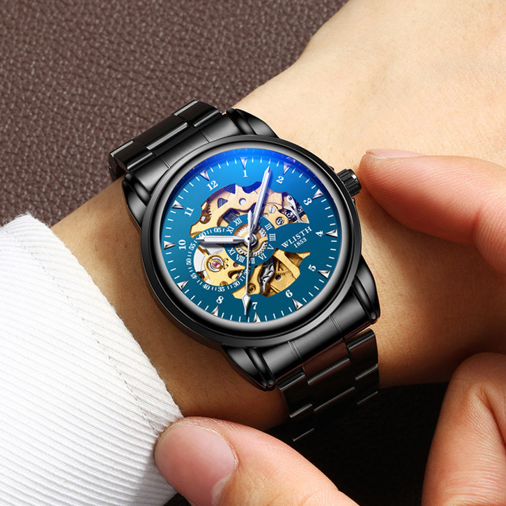 2019 Men Watches Top Brand Luxury WLISTH Mechanical Watches for Men Hour Erkek Kol Saati Luminous Black Skeleton Automatic Watch 5